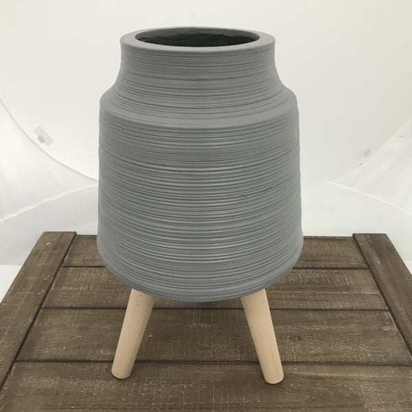 "Striped Gray Resin Pot with Dowel Legs, 20"" Tall"