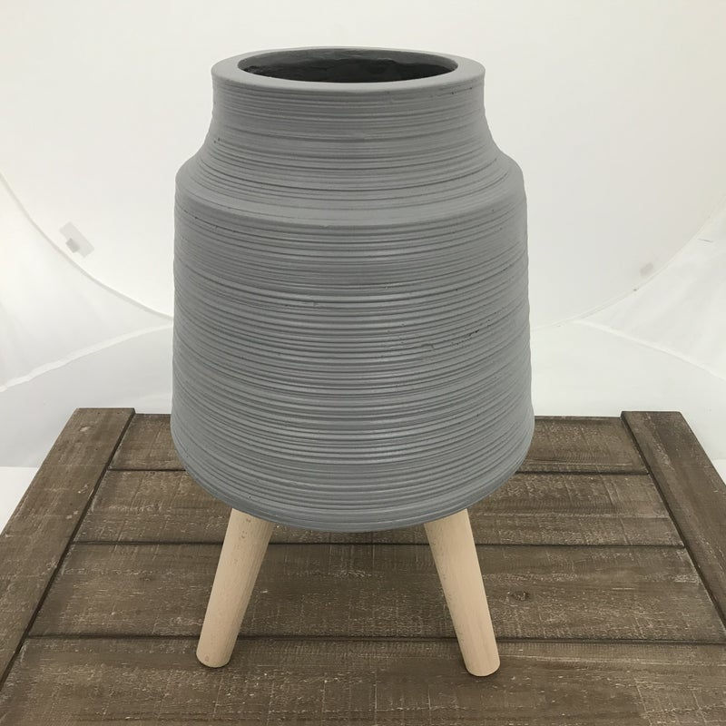 """Striped Gray Resin Pot with Dowel Legs, 20"""" Tall"""
