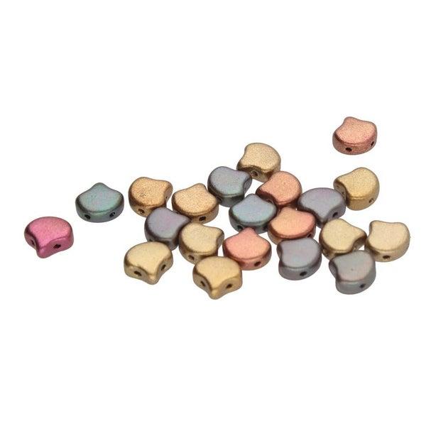 7.5mm Matubo Ginko Beads- Violet Rainbow