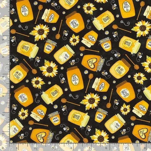 1 Yard Cut - Bee Loved Honey Jar Toss on Black Fabric - Timeless Treasures