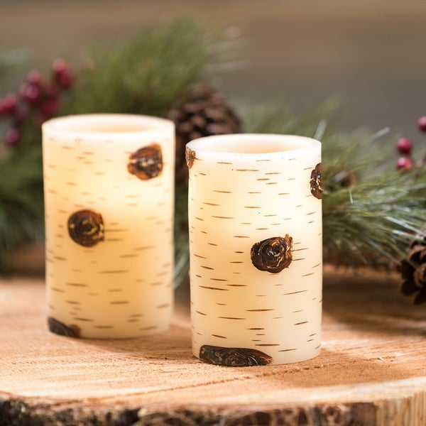 Birch LED Candle Set- 2pc