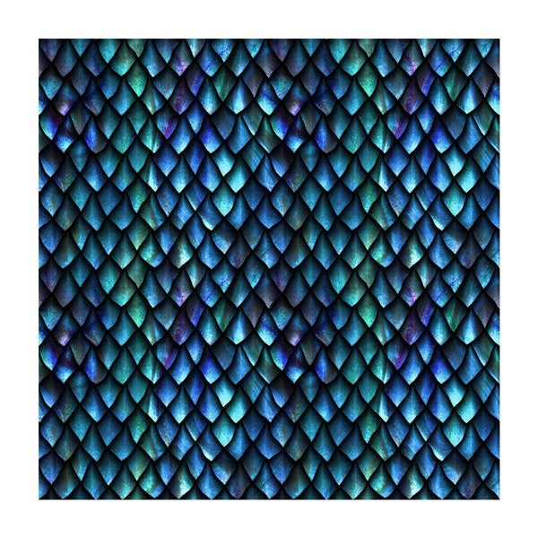 1 Yard Cut - Blue Dragon Scales Allover Fabric