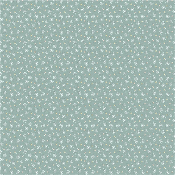1 Yard Cut - Woodland Songbirds Dandelion Fluffs on Teal