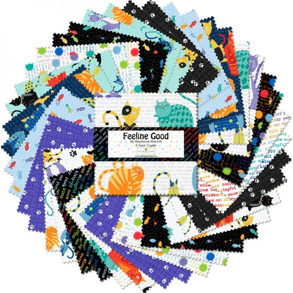 5 Karat  Feeline Good 5 Inch Charm Square - 42 Count - Wilmington Fabrics