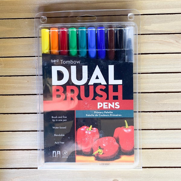 Tombow Dual Brush Pens , Primary Palette, 10pcs