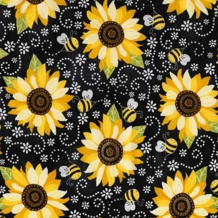 1 Yard Cut - Sunflower and Bee Chalkboard on Black - Timeless Treasures Fabrics