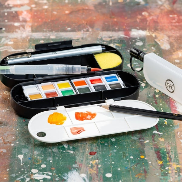 18 Piece 12-Color Watercolor Travel Set