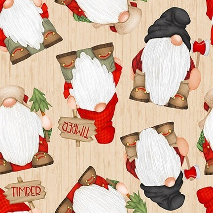 1 Yard Timber Gnomies Cotton Cut Fabric, Tossed Large Gnomes