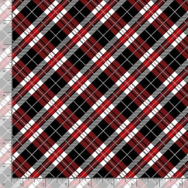 1 Yard Cut - You Make My Heart Happy Diagonal Plaid Red and Black Fabric - Timeless Treasures Fabrics