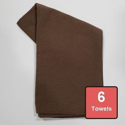 Cocoa Brown Cotton Tea Towels 6pc