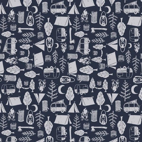 1 Yard Cut - Chop It Like It's Hot Midnight Camping - Dear Stella Fabrics
