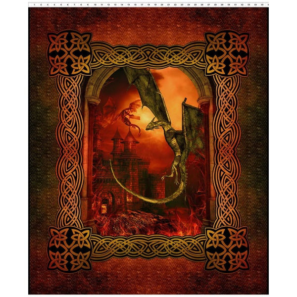Dragons Vertical Fabric Panel - Red, 36 inches by 44 inches