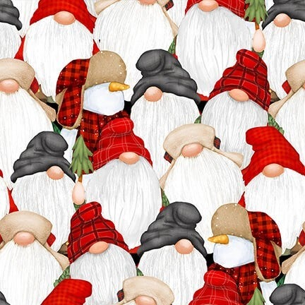1 Yard Timber Gnomies Flannel 2-Ply Cotton Cut Fabric, Stacked Gnomes