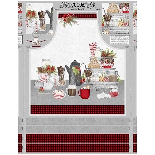Hot Cocoa Bar Apron Cotton Fabric Panel, Multi Colored