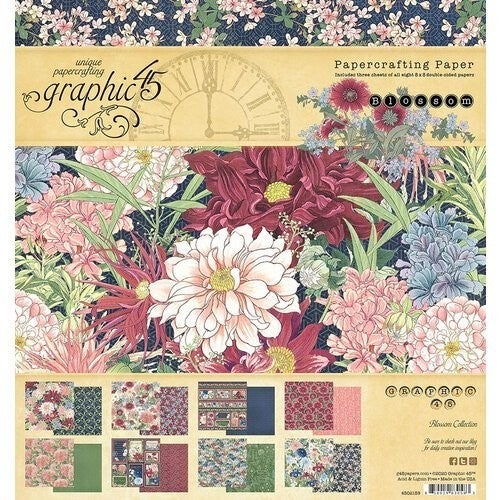 Graphic 45 Blossom Collection 8x8 paper pad