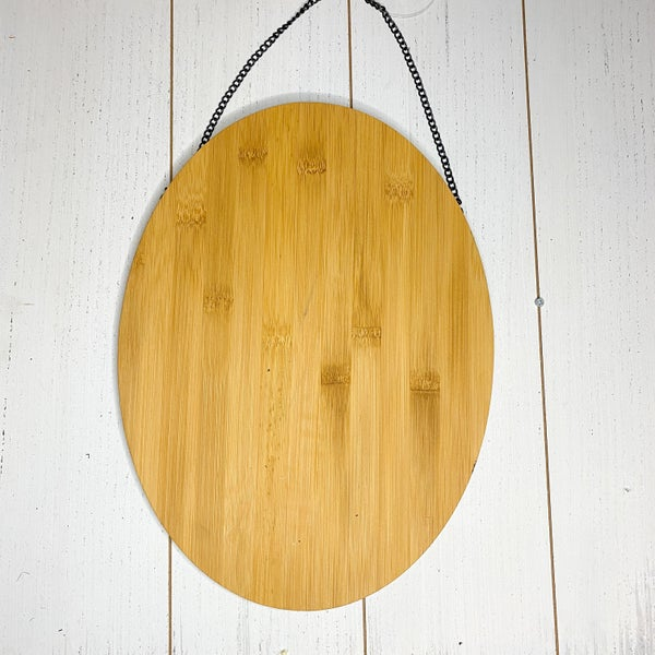 Oval Wood Plaque with chain