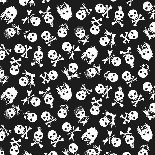 1 Yard Cut - Pour Some Sugar on Me Rock Skulls - Dear Stella Fabrics