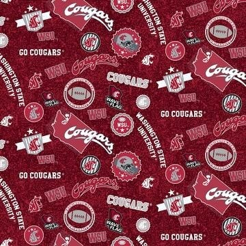 1 Yard College Cut Fabric, Washington State University Logo Toss on Red