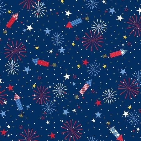 1 Yard Cut - Kimberbell Red White and Bloom Fireworks on Navy - Maywood Studio Fabrics