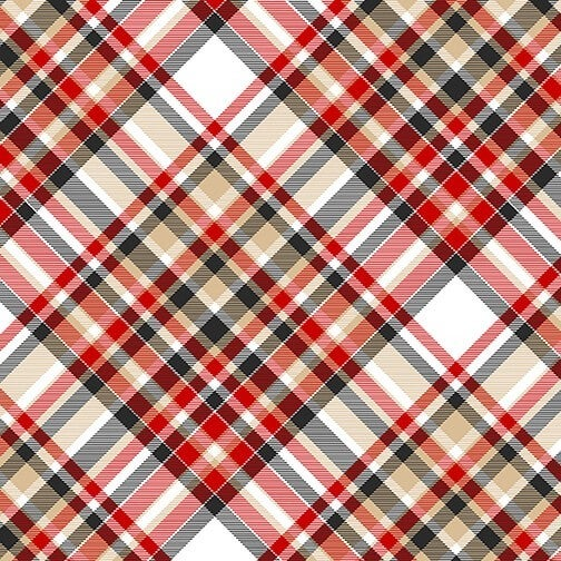 1 Yard Timber Gnomies Flannel 2-Ply Cotton Cut Fabric, Bias Plaid