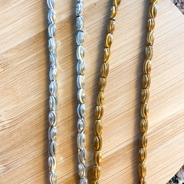 5.5-6mm Tube Brass Metal Strands (two finish colors)