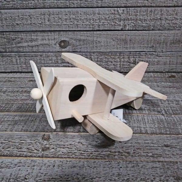 Unfinished Wood Birdhouse Airplane