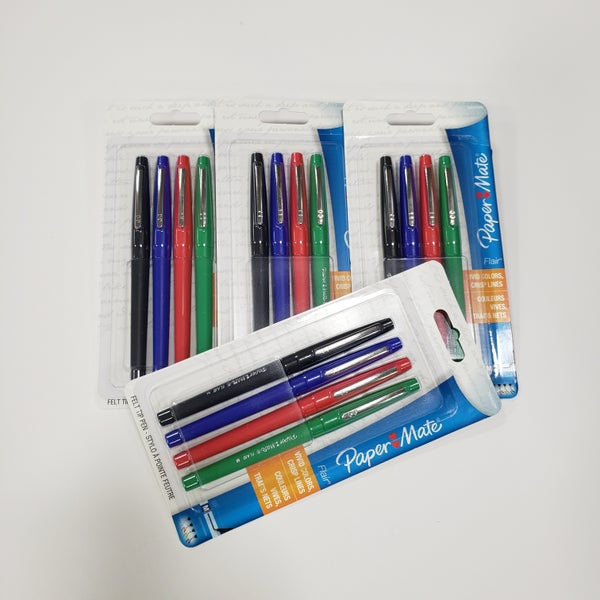 Flair Primary Color Felt Tip Pen 4-Piece Set - 4 Set Value Pack Bundle Set (16 Pens)