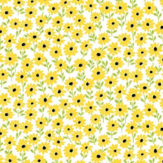1 Yard Cut - Sunny Bee Daisies on White - Andover Fabrics