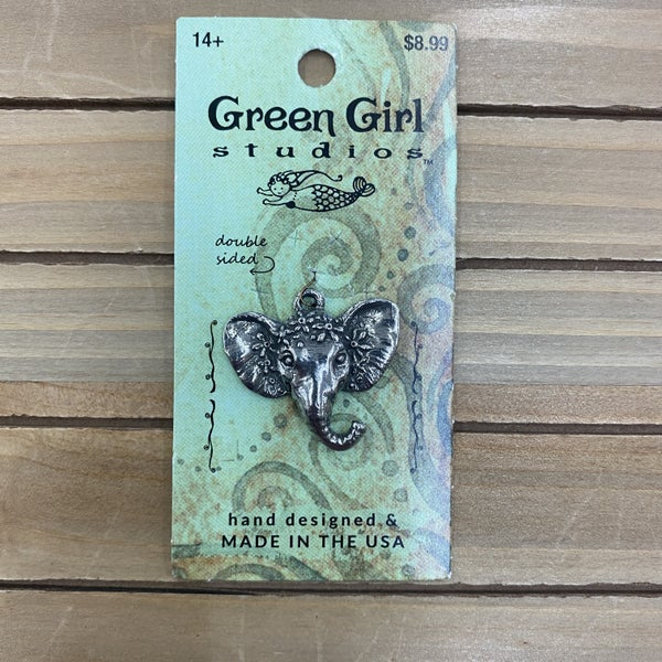 Green Girl Studios Pewter  Royal Elephant Charm