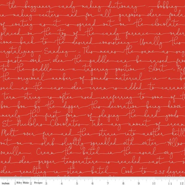1 Yard Cut - Snow Sweet Candymaking Text - Red