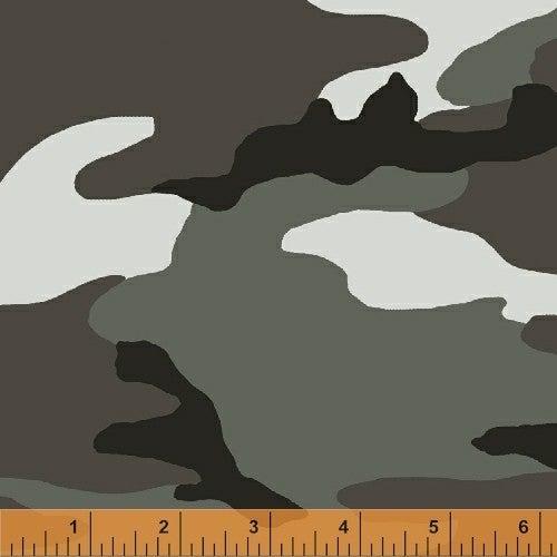 1 Yard Cut Fabric, Camo Army Greys