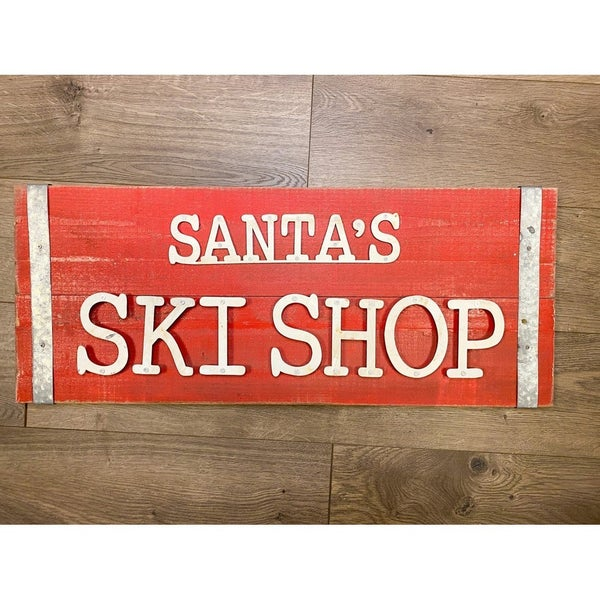 Santa's Ski Shop Wood Sign w/Metal Letters