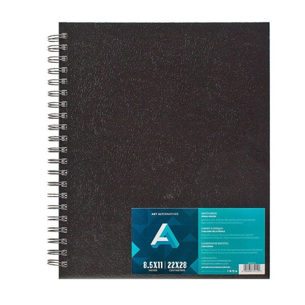 "Sketch Book, Spiral Hard Bound Cover, 8.5"" x 11"""
