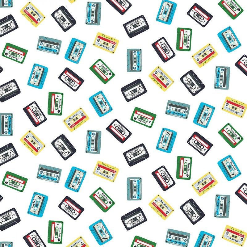 1 Yard Cut - Pour Some Sugar on Me Cassette Tapes on White - Dear Stella Fabics