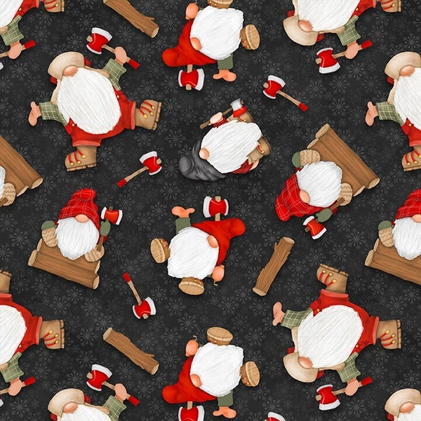 1 Yard Timber Gnomies Cotton Cut Fabric, Tossed Gnomes