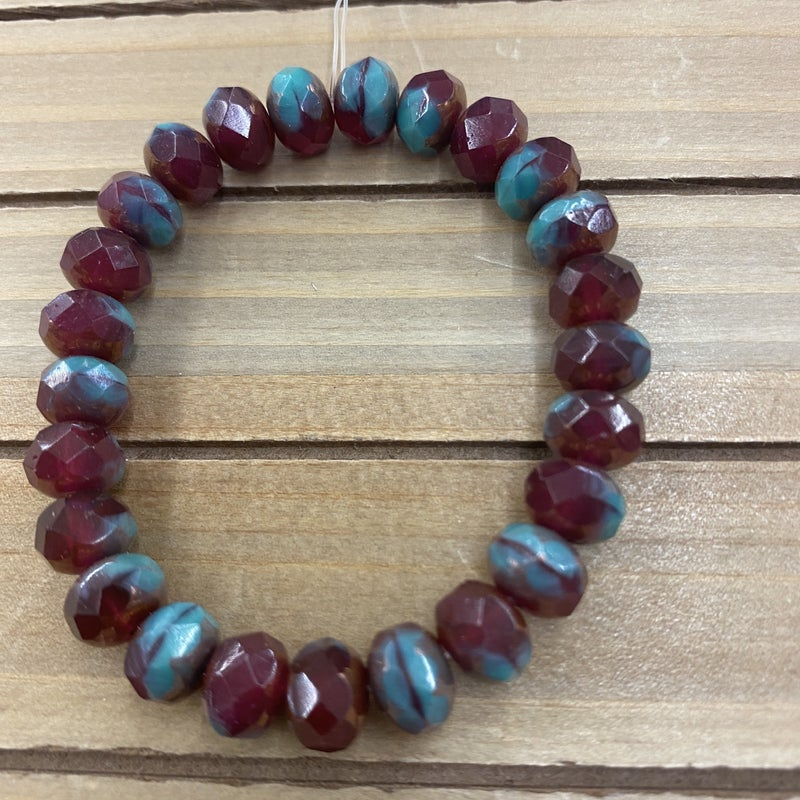 9x6mm Rondelle Bead Strand- Fuchsia Turquoise mix with Bronze Finish