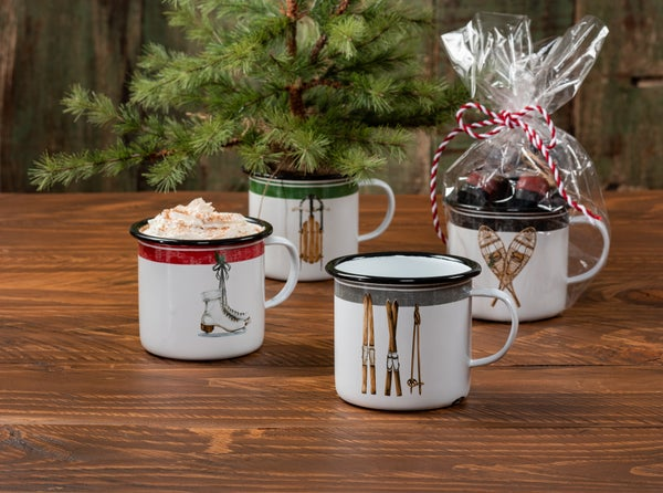 Assorted 16oz Enamel Snow Gear Mugs (Skate, Skis, Sled or Snowshoes)
