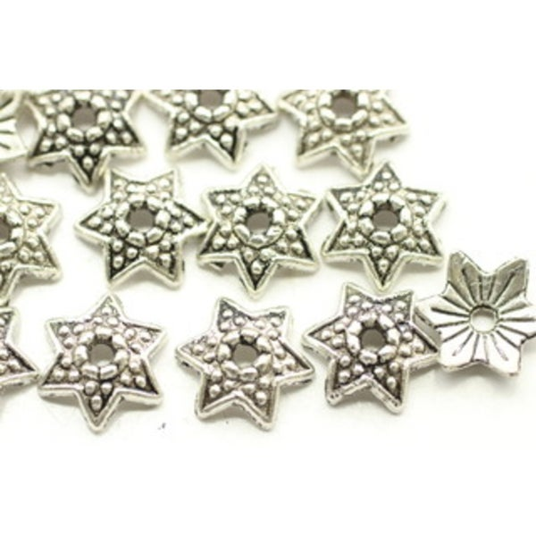 Small Star Cap, Antiqued Silver