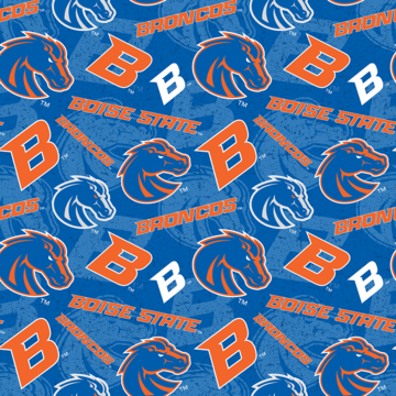 1 Yard College Cut Fabric, Boise State University Logo and Text Toss on Blue