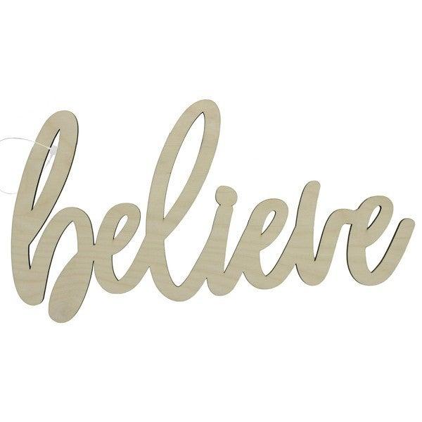 Believe Wood Word