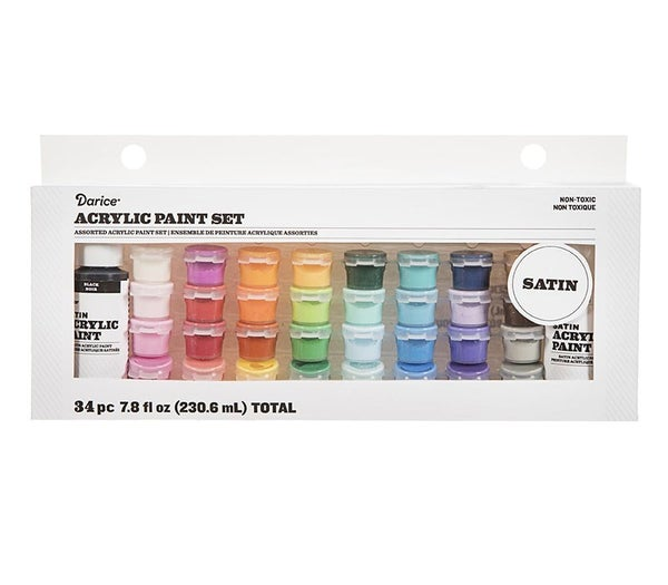 Acrylic Paint Pot Set: Satin, Assorted Sizes/Colors, 34 pack