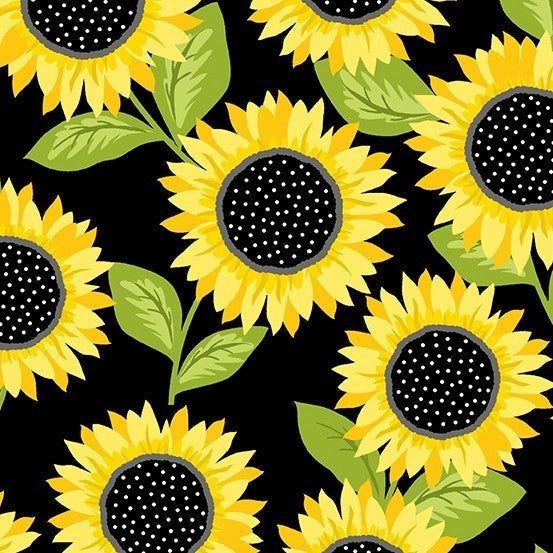 1 Yard Cut - Sunny Bee Sunflowers on Black - Andover Fabrics