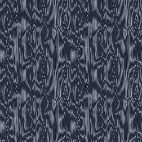 1 Yard Cut - Chop It Like It's Hot Woodgrain Midnight Blue - Dear Stella Fabrics