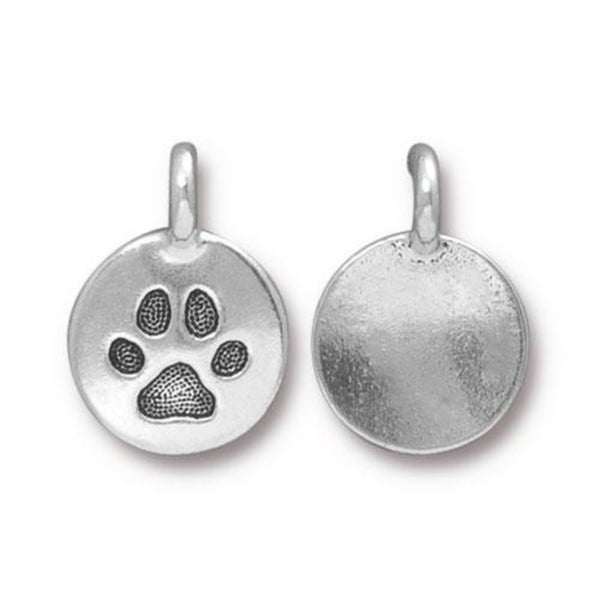 Tierra Cast- Paw Charm, Antiqued Silver