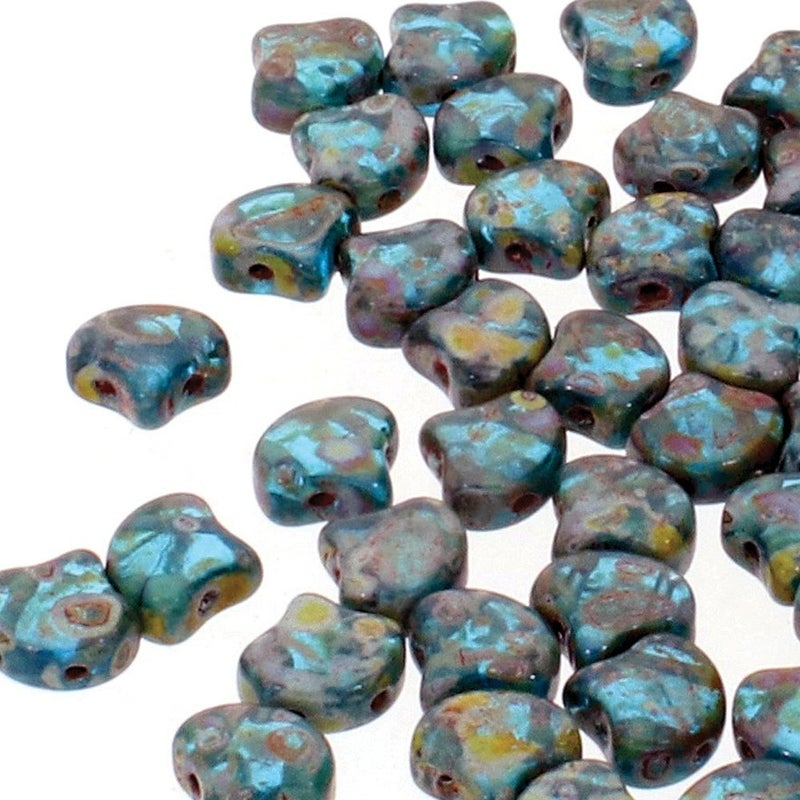 7.5mm Matubo Ginko Bead- Aqua Travertine
