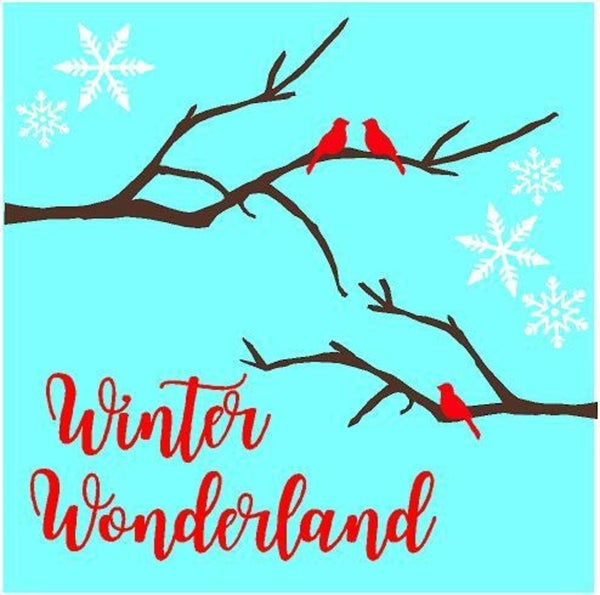 Rub On Vinyl- Winter Wonderland with Tree branch and Birds