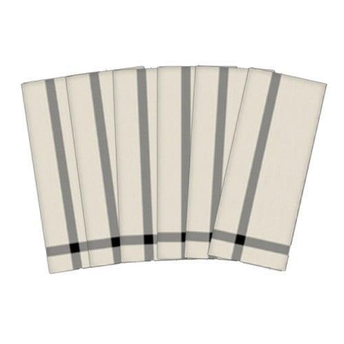 Antique White & Black Corner Stripe Cotton Tea Towels 6pc
