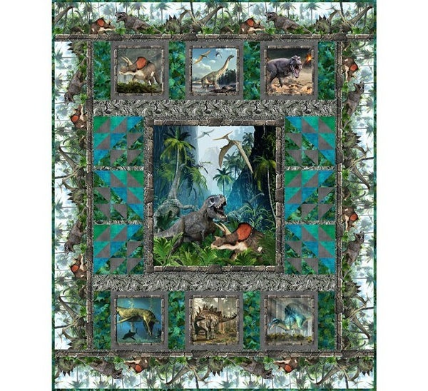 Jurassic Dinosaur Quilt Kit; Includes fabrics for complete quilt top and pattern