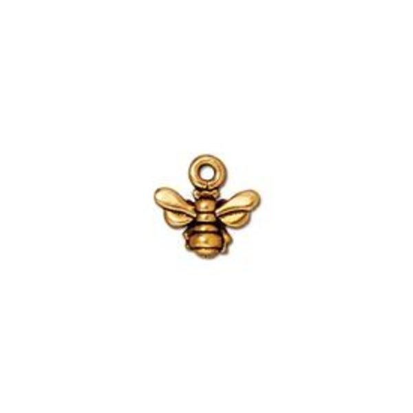 Honeybee Small Charm, Antiqued Gold Plate- Tierra Cast