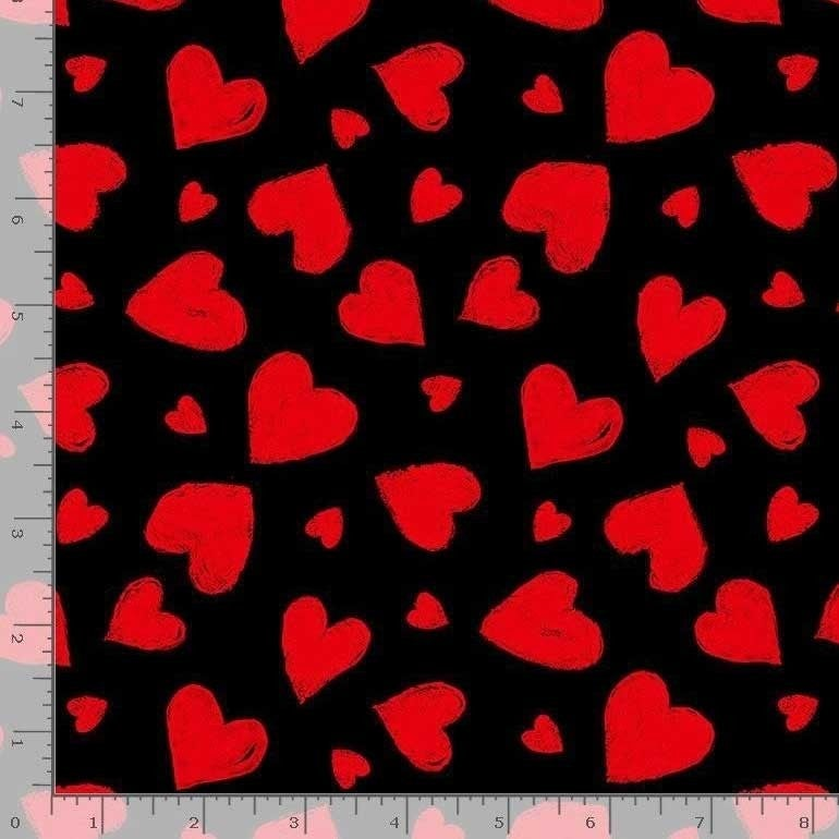 1 Yard Cut - You Make My Heart Happy Red Chalky Heart Toss on Black  Fabric - Timeless Treasures